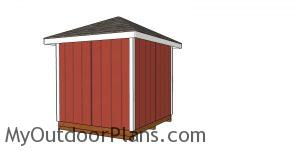 8x8 5 sided corner shed plans - back view