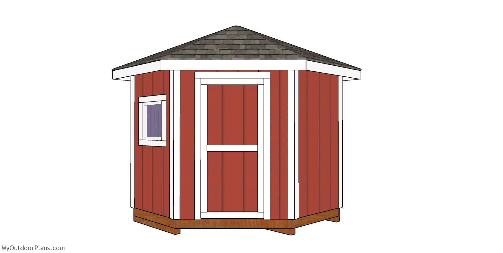 8x8 5 Sided Corner Shed - Free DIY Plans