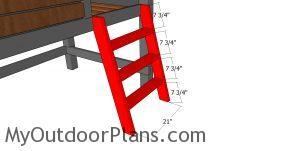 Assembling the ladder for the high cabin bed