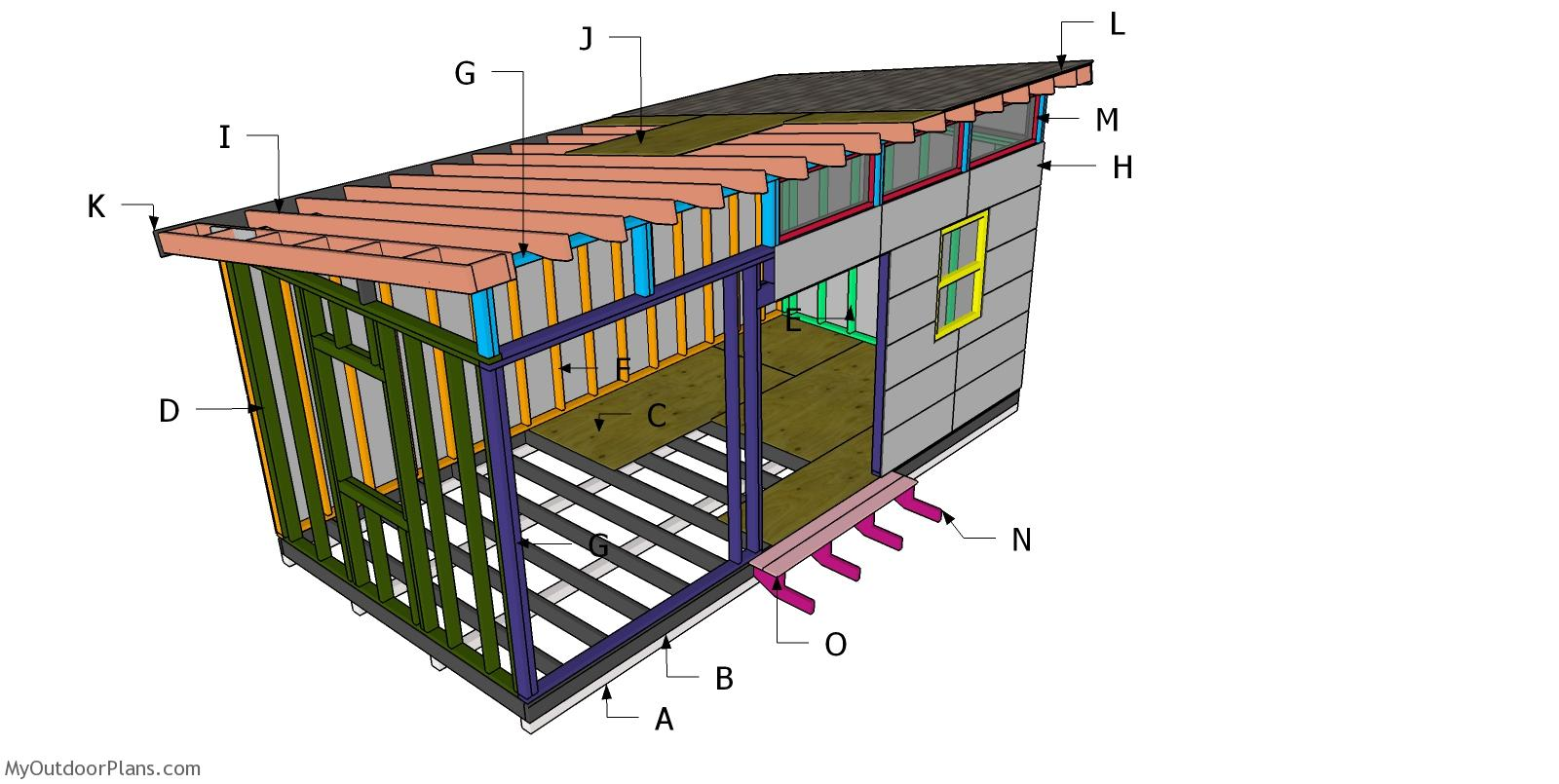 10x20 Lean to Office Shed Roof Plans