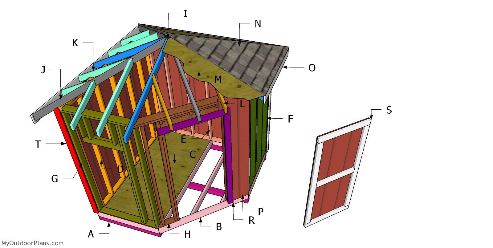 Hip Roof for 8x8 Corner Shed Plans