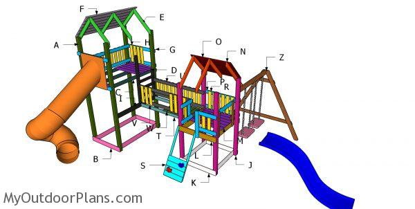 Building a playset with swing and fort