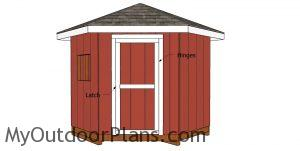 Fitting the door to the corner shed