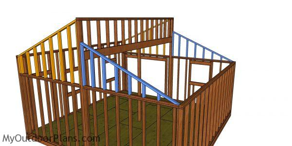 Fitting the front and back gable wall frames