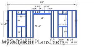 Front wall frame - 10x20 office