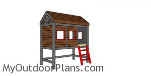 High Cabin Bed Plans - Twin Size - MOP