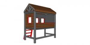 High Cabin Bed Plans - Twin Size - back view