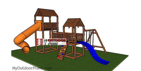 How-to-build-a-large-playset-with-forts-and-slides