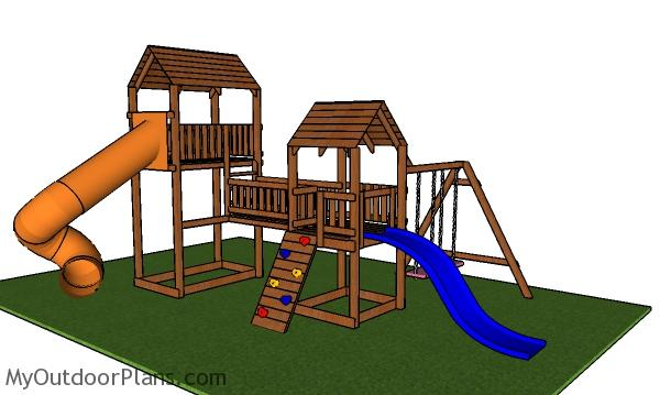 Outdoor Playset with Swing and Slides - Free PDF Download