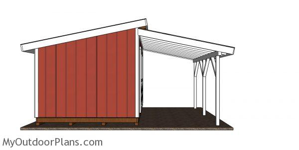 Lean to onto shed plans - front view
