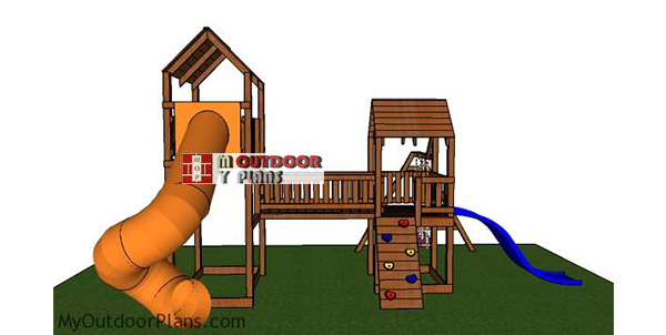 Playset-with-fort-and-slide-plans