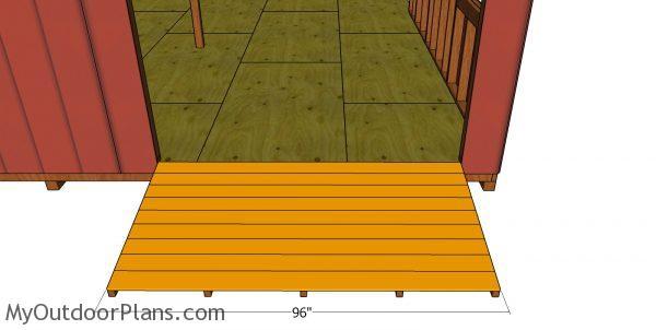 Slats for shed ramp