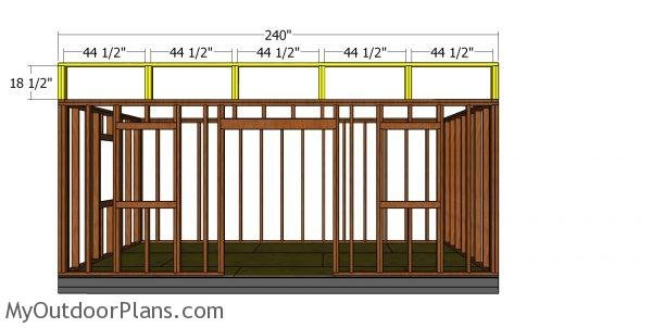 Top front wall frame - 10x20 shed