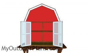 Barn shaped produce box - front view
