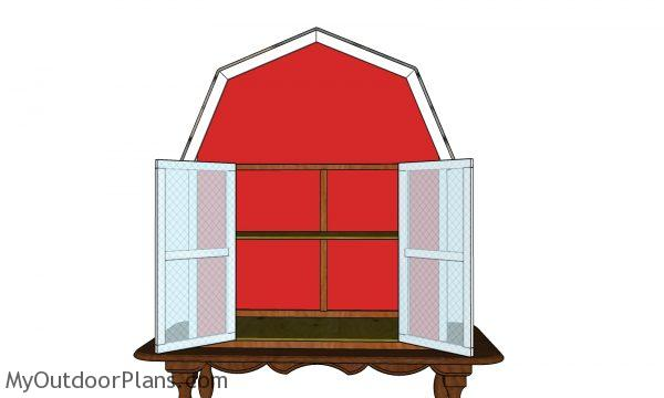 Barn shaped produce box - front view