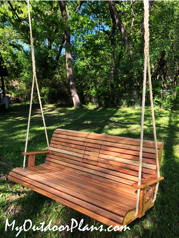 DIY Red Oak Porch Swing Bench