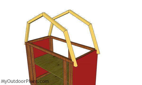 Fitting the trusses - barn shaped veg display box