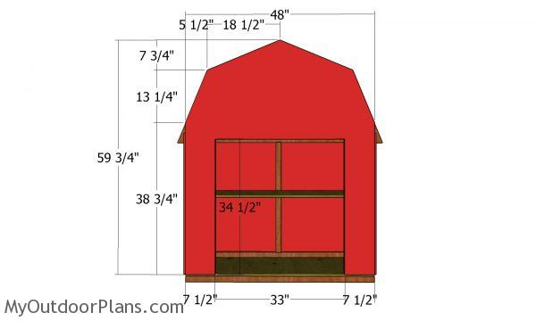 Front wall panel - barn shaped veggie display box