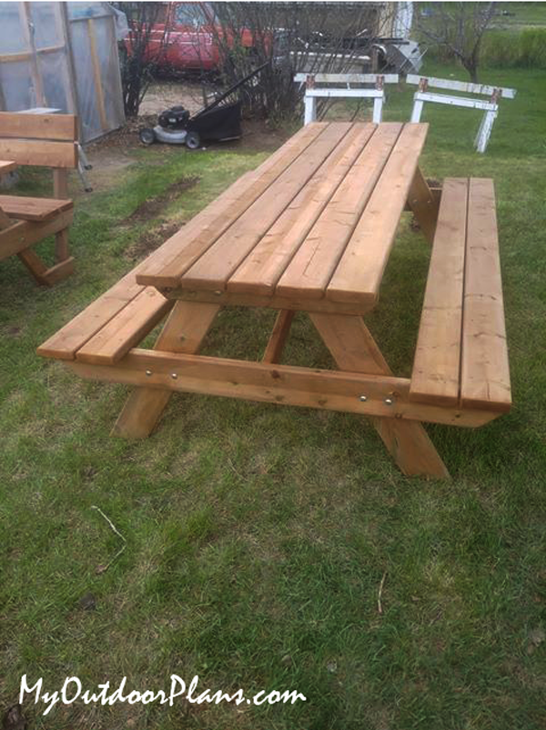 DIY 8 ft Wood Picnic Table