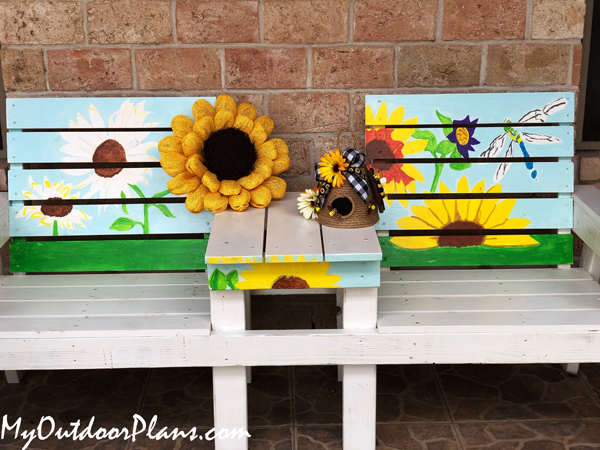 DIY Large Wood Double Chair Bench