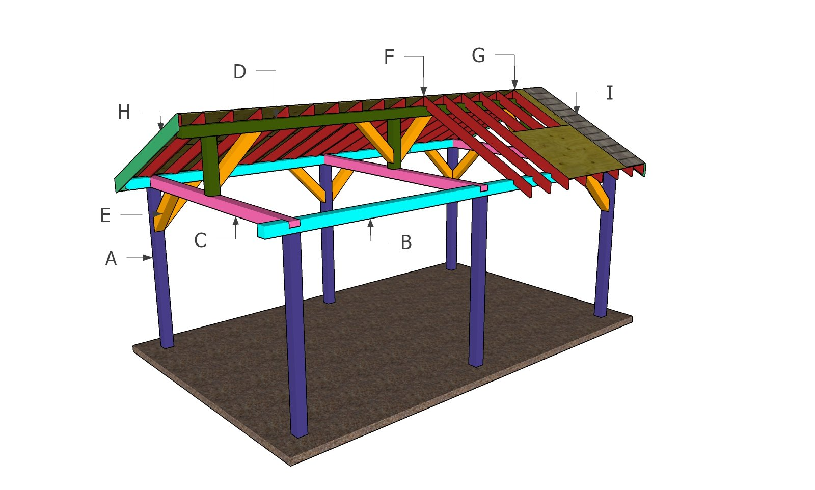 12x20 Backyard Pavilion - Gable Roof Plans