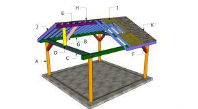 16×16 Gable Roof Pavilion Plans