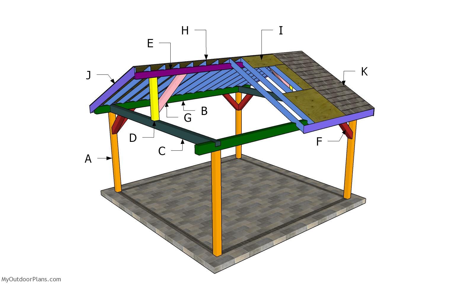 16x16 Gable Roof Pavilion Plans