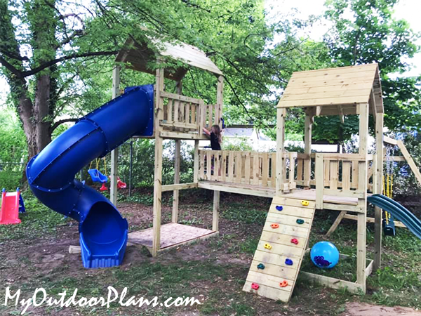 DIY Outdoor Playset with Swings and Slide