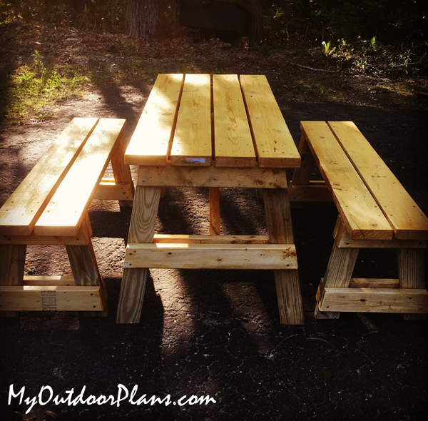 DIY 5 ft Picnic Table with Separate Benches