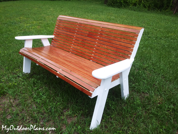 DIY Project - Wood Outdoor Bench with Backrest