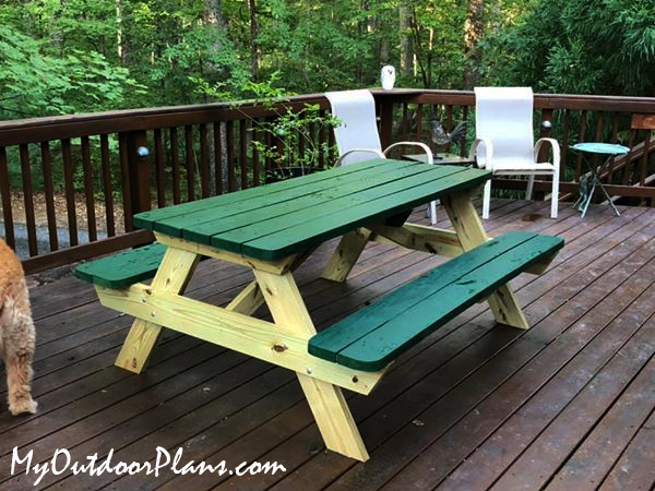 DIY 8 Foot Picnic Table with Benches