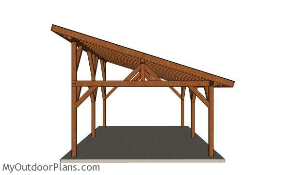 16x24 Lean to Pavilion Plans - front view
