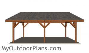 16x24 Lean to Pavilion Plans - side view