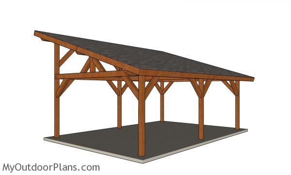 16x24 Lean to Pavilion Plans - view