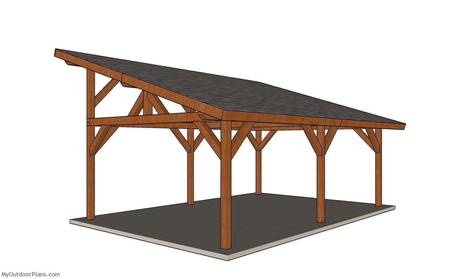 16x24 Pavilion with Lean to Roof Plans