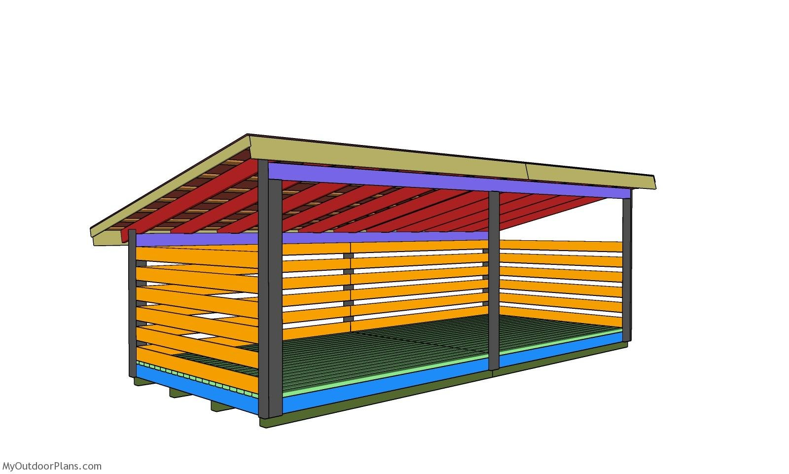 8x20 6 Cord Firewood Shed Roof Plans