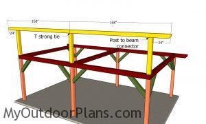 Fitting the top ridge beam