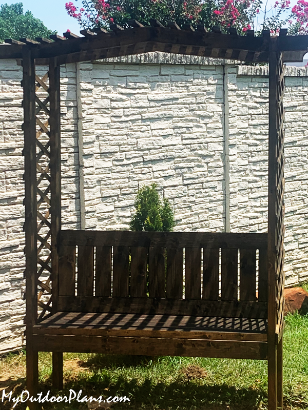 DIY Wooden Arbor with Bench