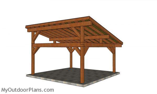 18x18 lean to pavilion plans - back view