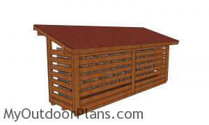 4x16 firewood shed plans - back view