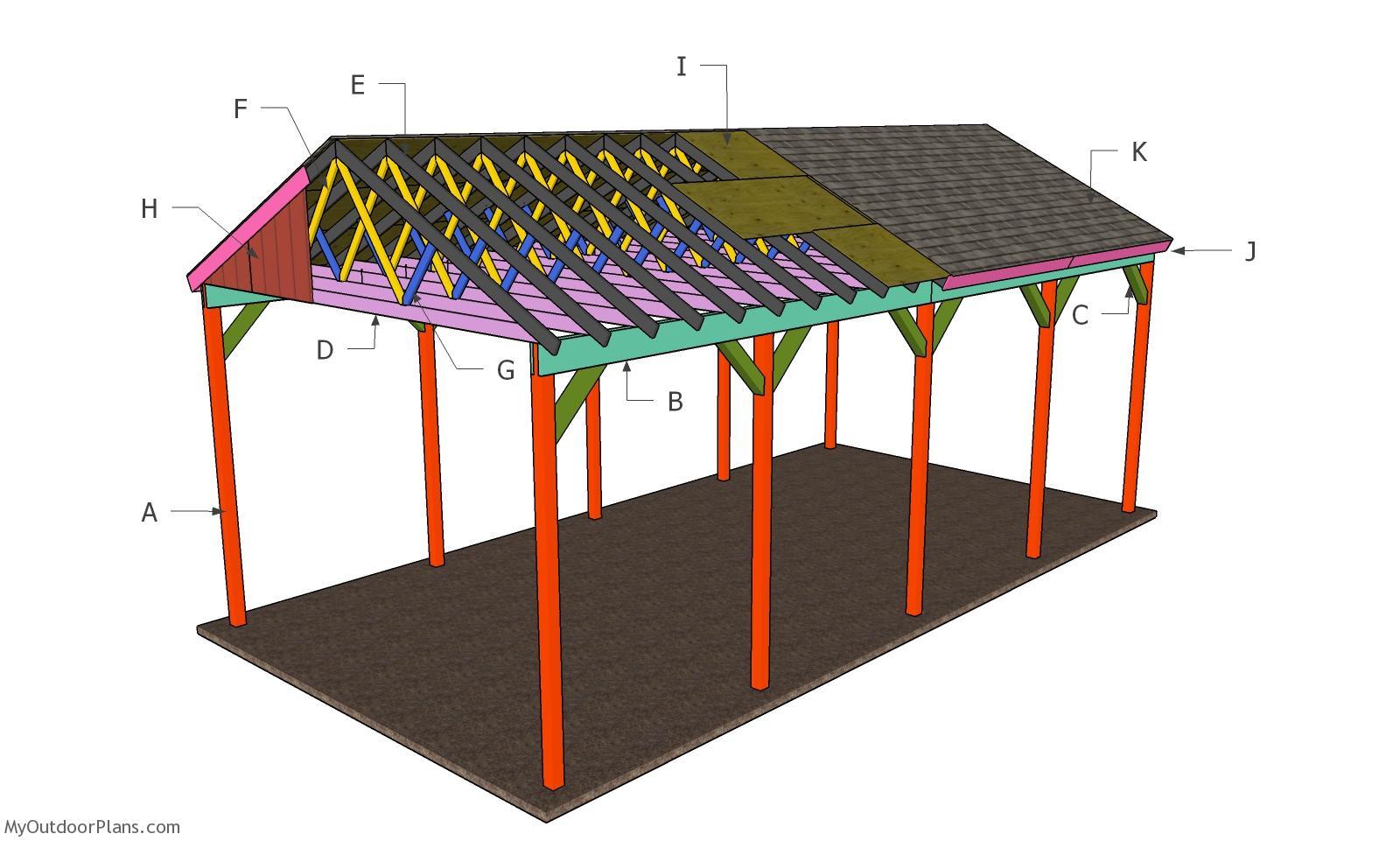 20x40 RV Carport - Gable Roof Plans