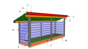 4×16 Firewood Shed – Lean to Roof Plans