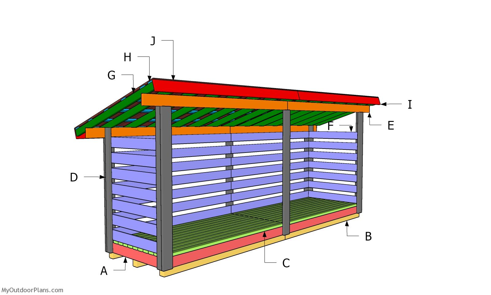4x16 Firewood Shed - Lean to Roof Plans
