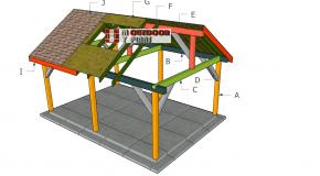 14×20 Backyard Pavilion – Gable Roof Plans