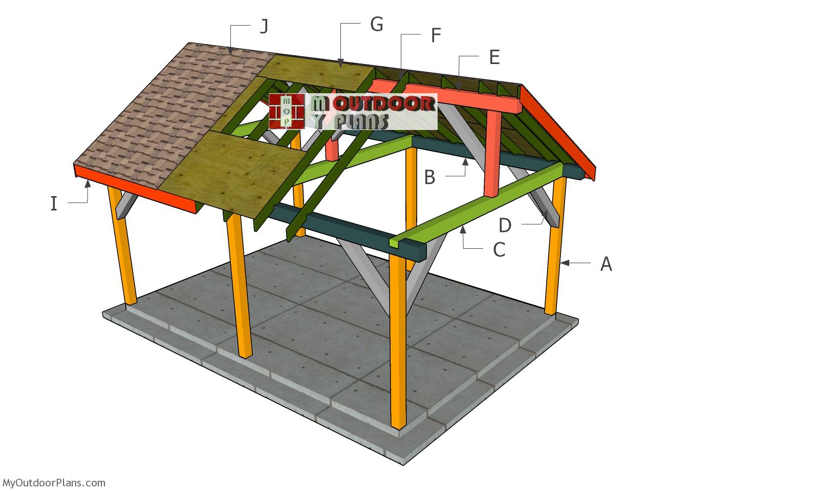 14x20 Backyard Pavilion - Gable Roof Plans