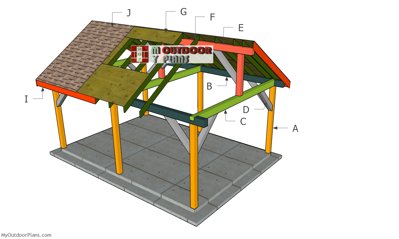 14x20 Backyard Pavilion - Gable Roof Plans