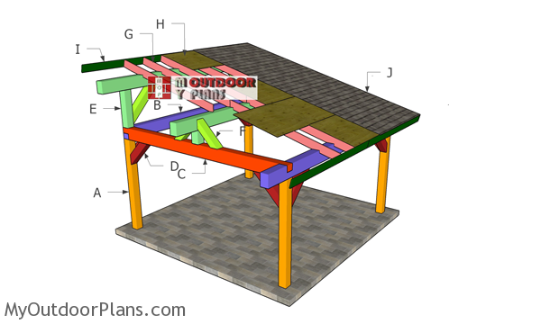 16x16 Lean to Pavilion Roof Plans