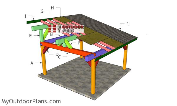 16x16 Lean to Pavilion Roof Plans