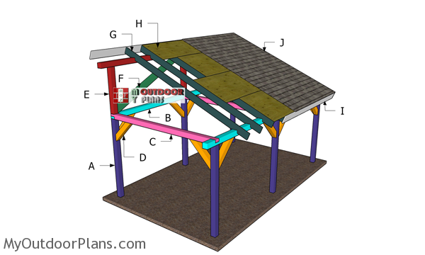 12x20 Outdoor Pavilion Lean to - Roof Plans