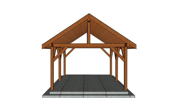 14x18 Gable Pavilion Plans front view